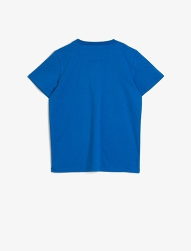 Koton Kids Baskili T-Shirt Mavi